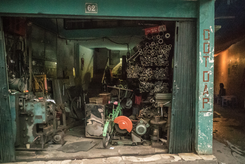 Metal working shop just opening in the suburb of Hanoi