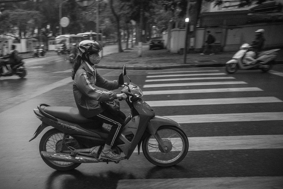 and rushing along by bike