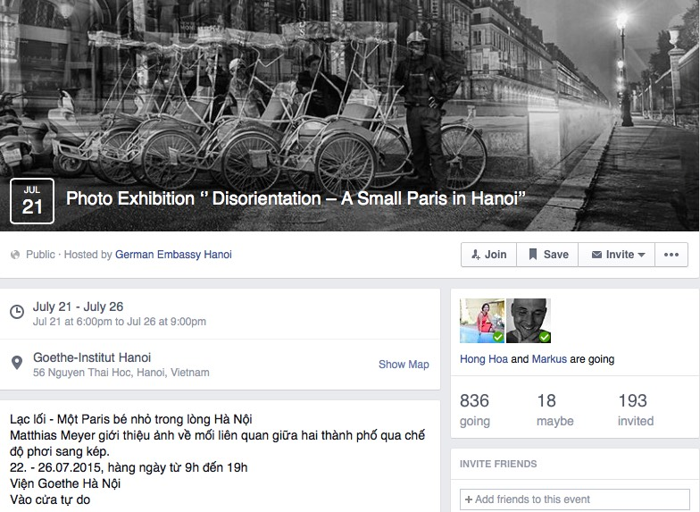 screenshot FB page of the German Embassy in Hanoi