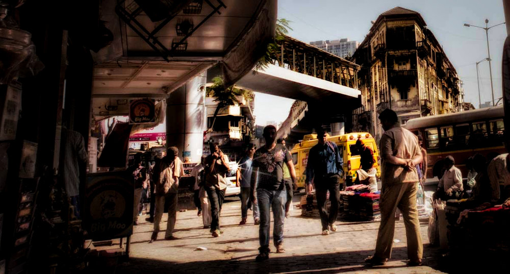 Intersection at Grant Road, Mumbai, India