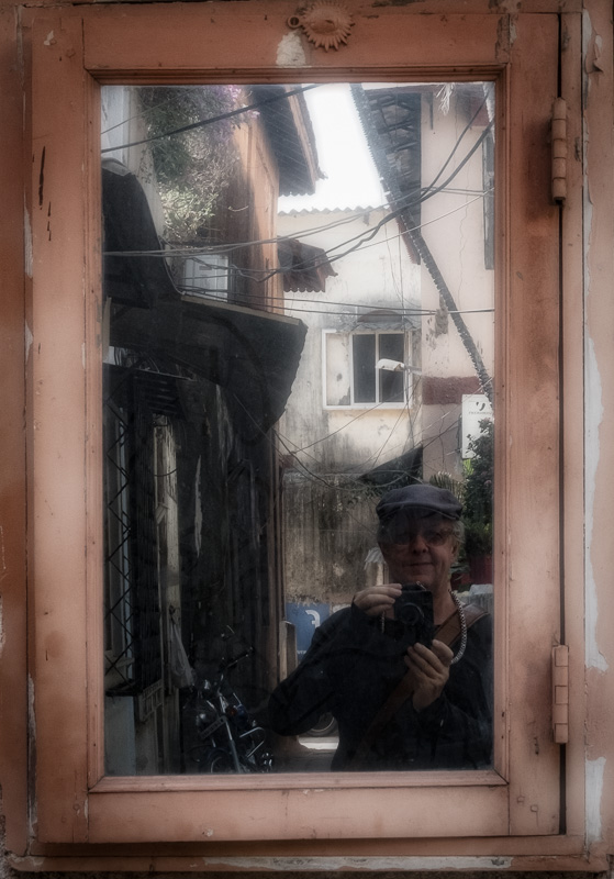 2017 Selfie taken in an alley in Bandra reflected in a mirror