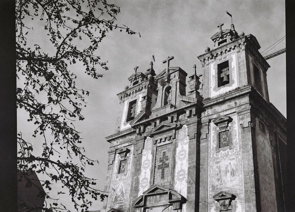 Architectural shot of a church in Porto