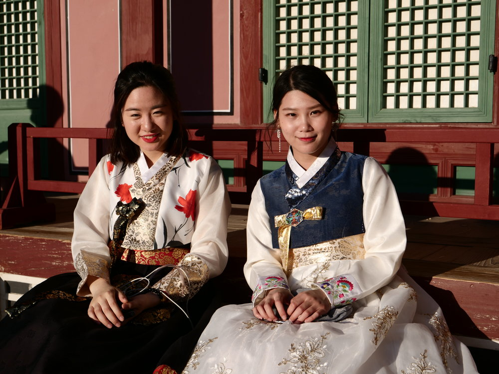 Korean women in traditional dresses