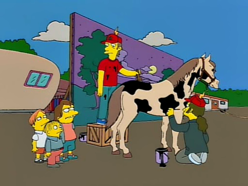 Uh, Sir, why don't you just use real cows?   Cows don't look like cows on film. You gotta use horses.   What do you do if you want something that looks like a horse?   Ehh, usually we just tape a bunch of cats together.