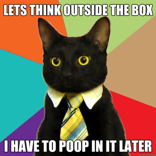 Good thinking, cat in tie.