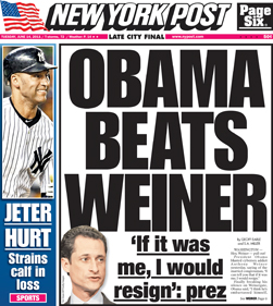 The actual front page of the NY Post today. All scandals from now on will pale into comparison unless they involve someone who's name means penis.