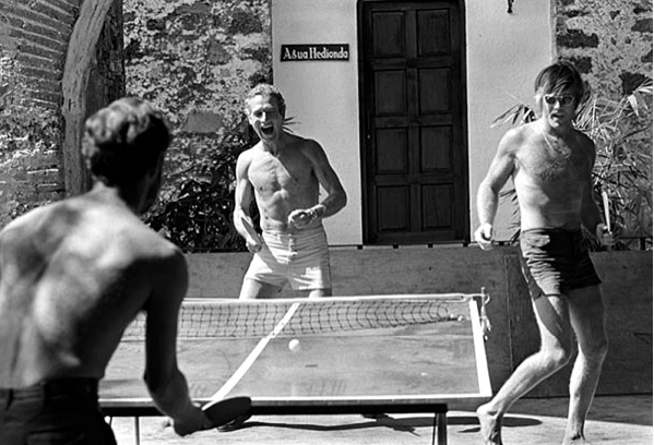 Redford and Newman, playing ping pong.   Cool defined visually.