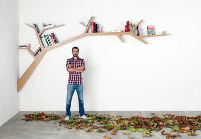 This is the COOLEST bookshelf ever. Desperately want it. And the leaves to place under it!   From  The Whistling Duck.