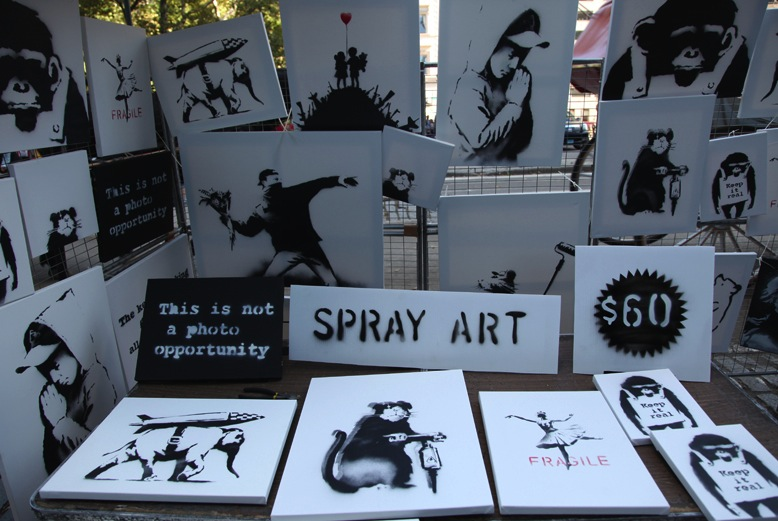Banksy's anonymous Central Park art stand.