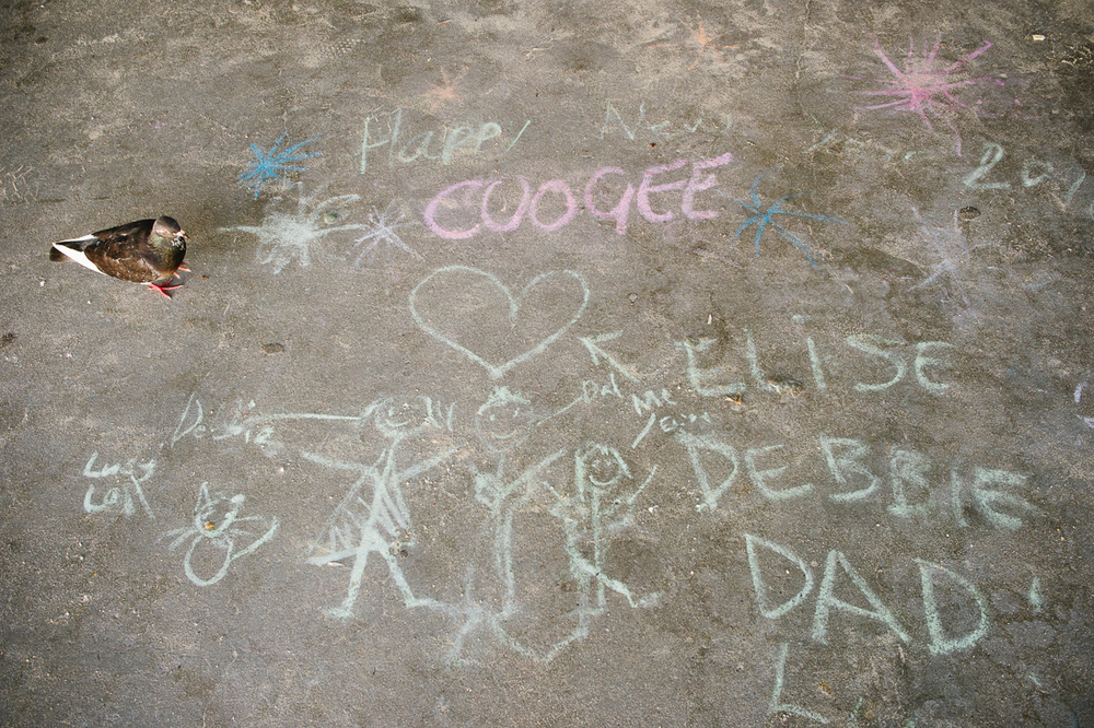 A childs chalk drawing of the Coogee new yearss Fireworks.