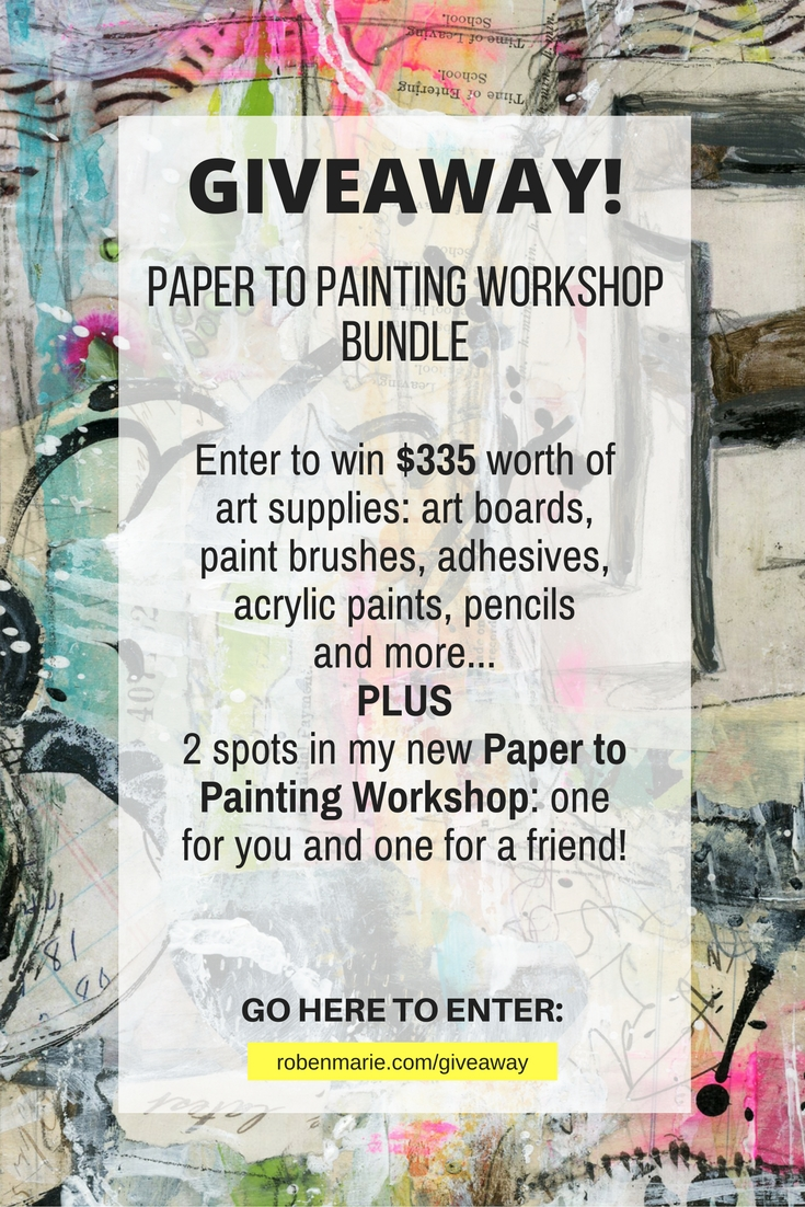 #GIVEAWAY! Paper to Painting Workshop Bundle  Enter to win $335 worth of art supplies: art boards, paint brushes, adhesives, acrylic paints, pencils and more.  PLUS 2 spots in my new Paper to Painting Workshop: one for you and one for a friend!  GO HERE TO ENTER: www.robenmarie.com/giveaway
