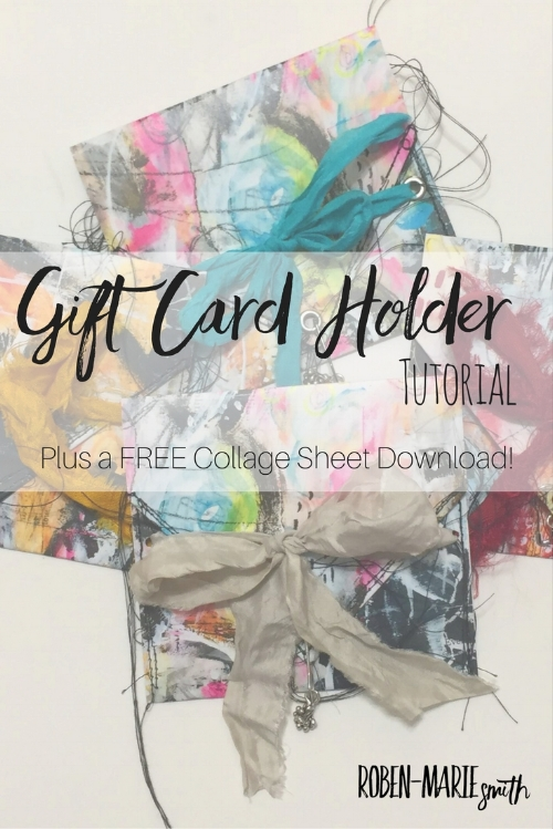 Gift Card Holder Video Tutorial by Roben-Marie Smith.  Make your own unique gift card holders with this simple and easy idea and a FREE collage sheet download!  @robenmarie  #diy #giftwrap #mixedmedia