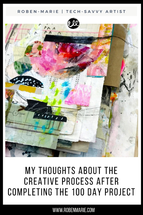 Roben-Marie Smith shares thoughts about the creative process after completing The !00 Day Project and art for sale! @robenmarie #collageartist #collageart #techsavvyartist #artforsale