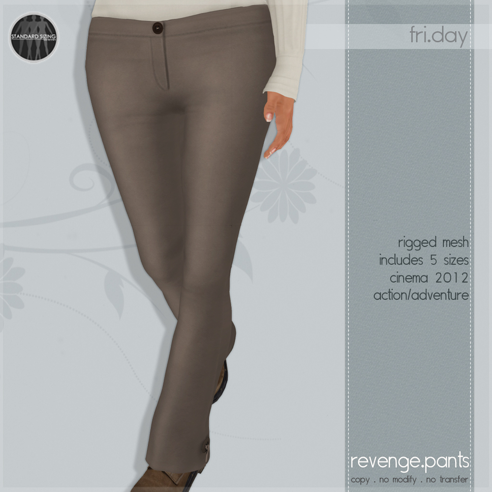 The pants are rigged mesh and include 5 sizes.