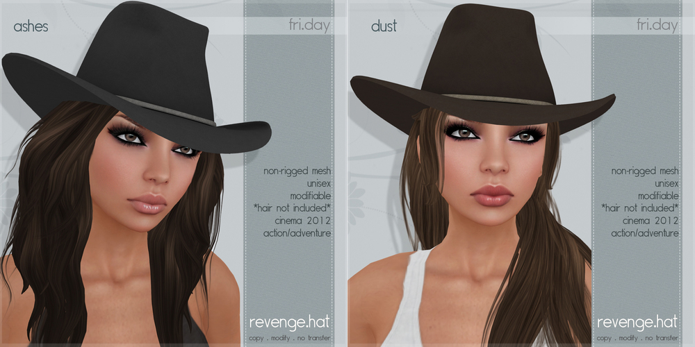 Last but not least are the hats! These are available in two versions and *do not* include hair. They are unisex and modifiable so you can edit them to fit over any hair (you will most likely want to use hair that you can edit).