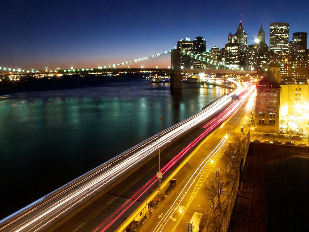 The Brooklyn Bridge and the FDR Drive, as seen from the Manhattan Bridge
