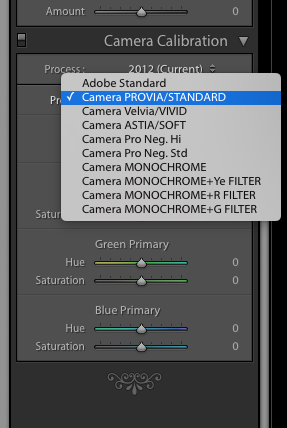 Lightroom's built-in camera profiles.