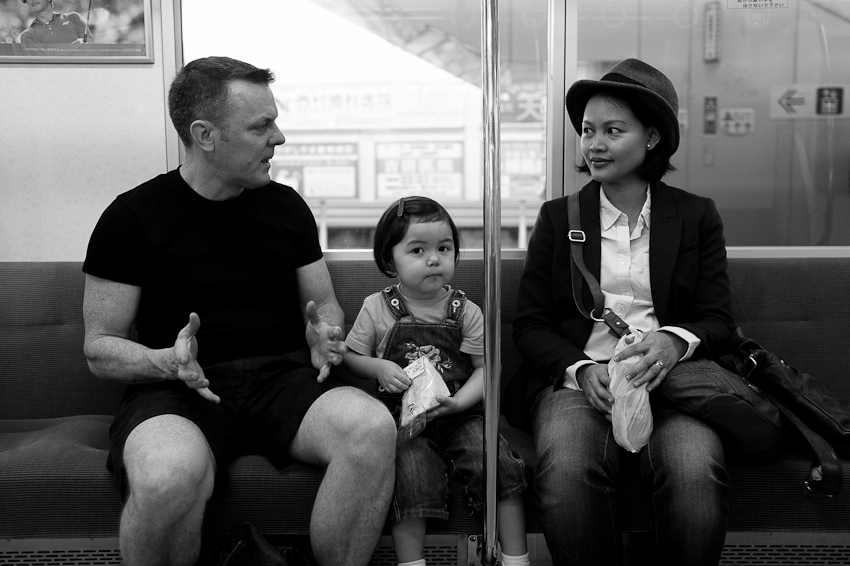 Peter, Uwe & Rima on the train to Studio Ghibli, Oct 2012