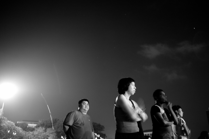 People watching fireworks, City Hall, Penang, February 2013