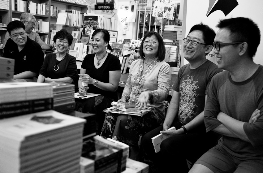 Ian Chung (moderator) with several shortlisted Singapore Literature Prize writers: Audrey Chin , Hidayah Amin, Josephine Chia, Yong Shu Hoong, Joshua Ip at Books Actually October 2014