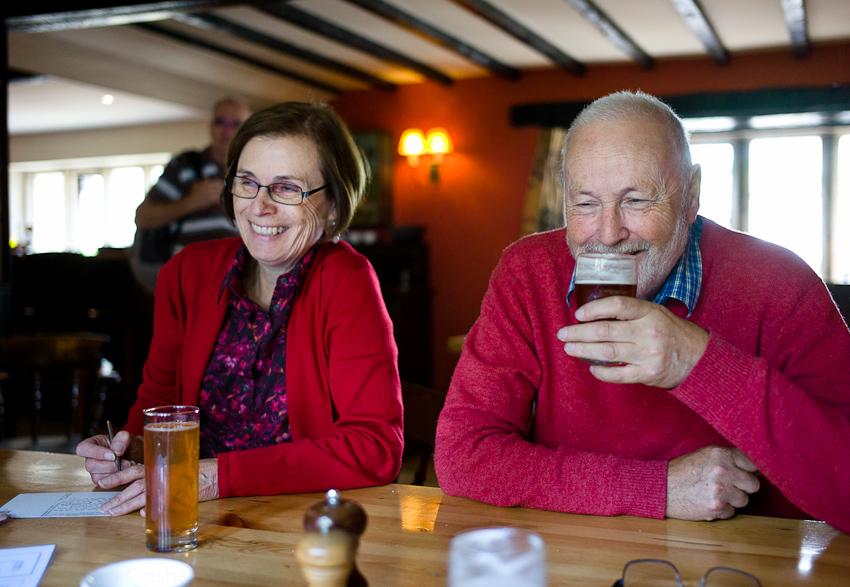 Mum & Dad, Pub, Upper Slaughter, June 2013