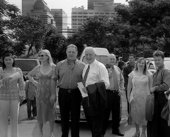 Warwick wearing a tie, Bangkok, 2000