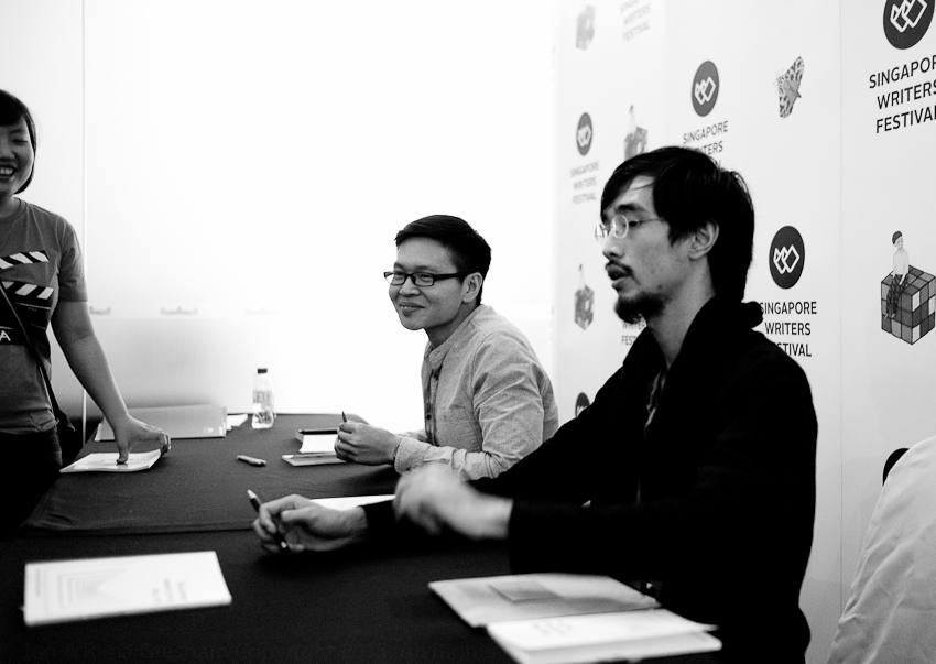 Hau Huang & David signing their debut poetry collections
