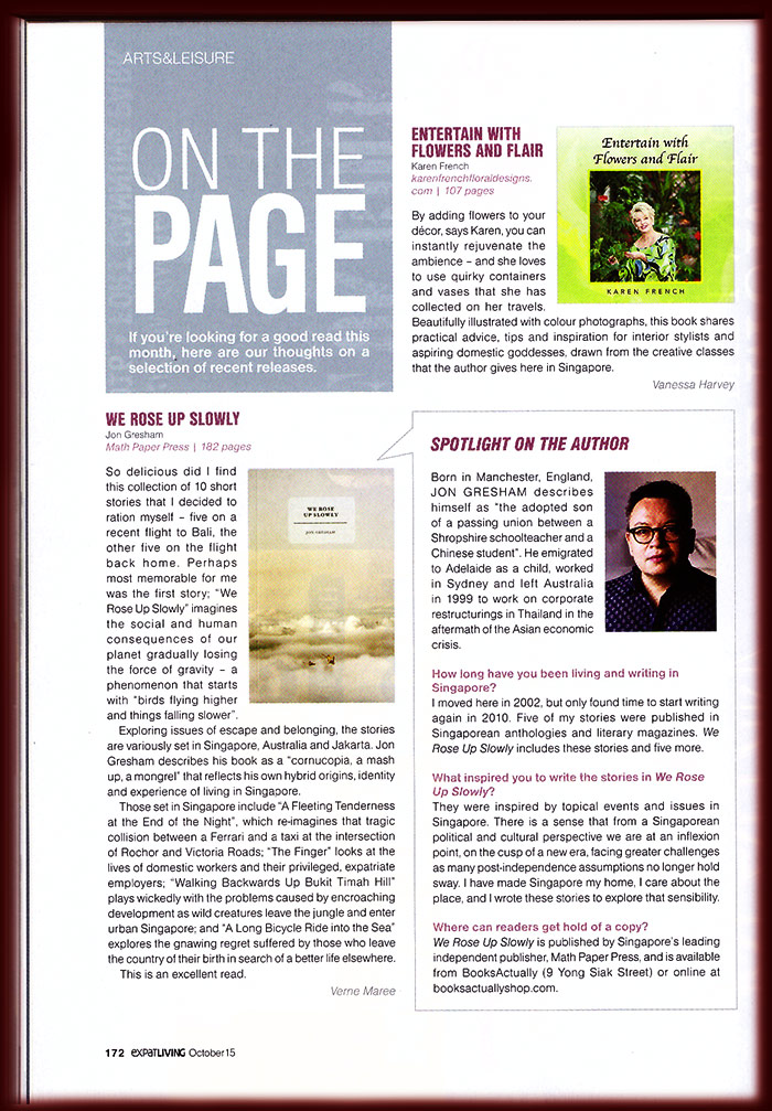 On The Page, Expat Living Singapore, October 2015