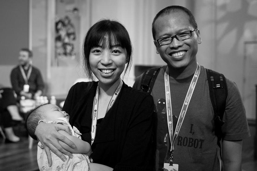 Clarissa Goenawan with her baby & Eka Kurniawan