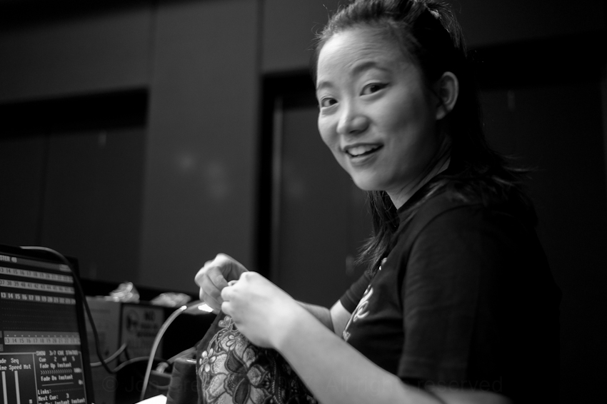 Amber Lin managing all the lighting & sound
