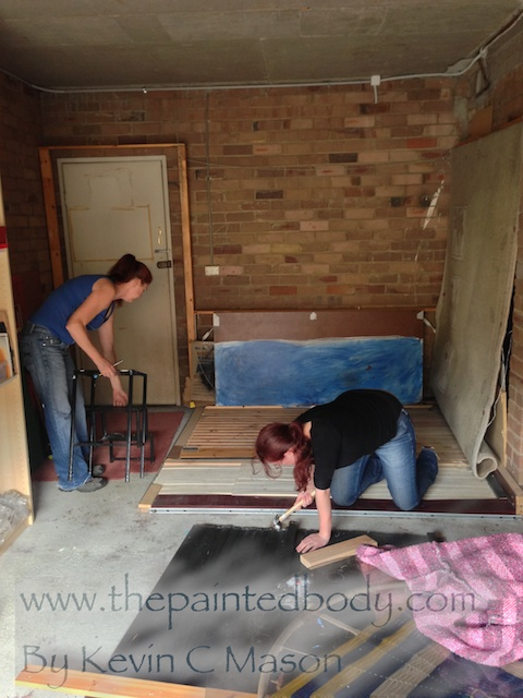 The girls working in the studio! So glad somebody is good with power tools!