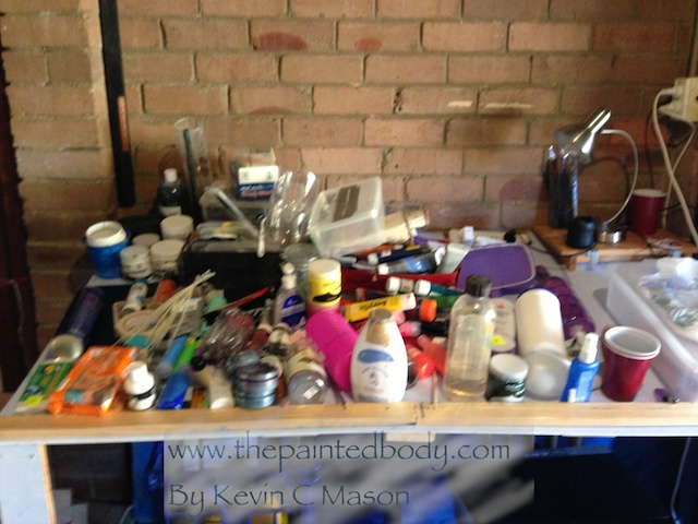 This is the mess from the start .. Everything on this table was sanitised, entered into my database ( For inventory) and then placed into its new home!! took about an hour.. Enough bodypaint? I don't think so!