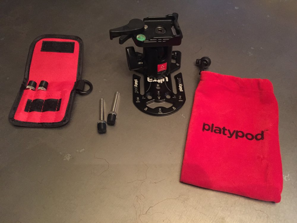 Platypod Ultra, Multi-Accessory Kit (nylon straps not shown), Oben BA-113T Ballhead