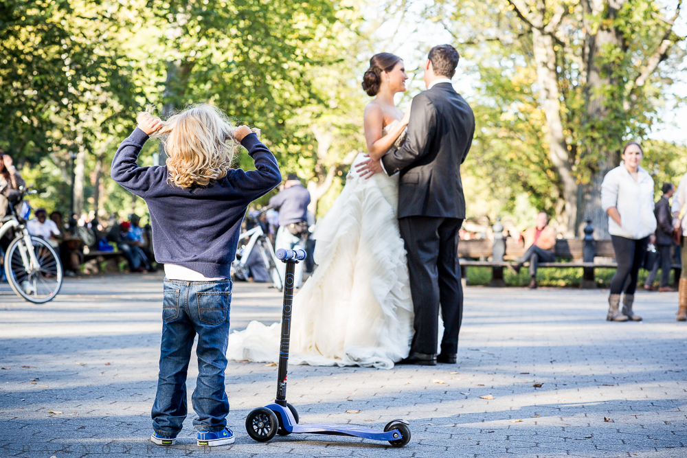 A beautiful, golden-haired boy. His trusty scooter. A gorgeous bride and groom: Central Park on a perfect fall day...