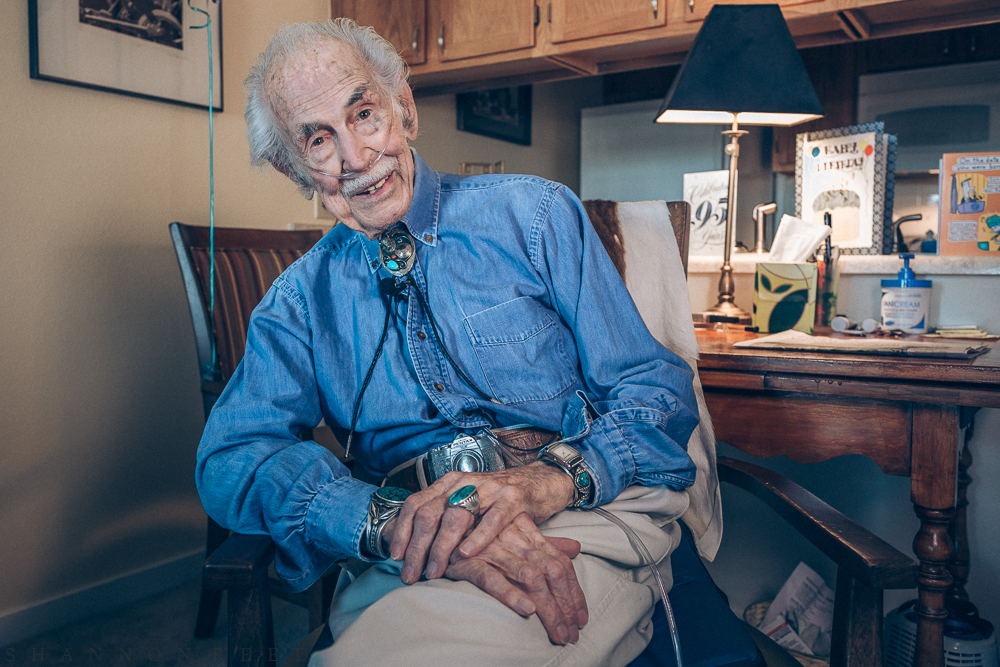 Hal a few days after his 95th birthday - getting readyto go to his celebration and art exhibit at the Dona Laurita Gallery in Lousiville