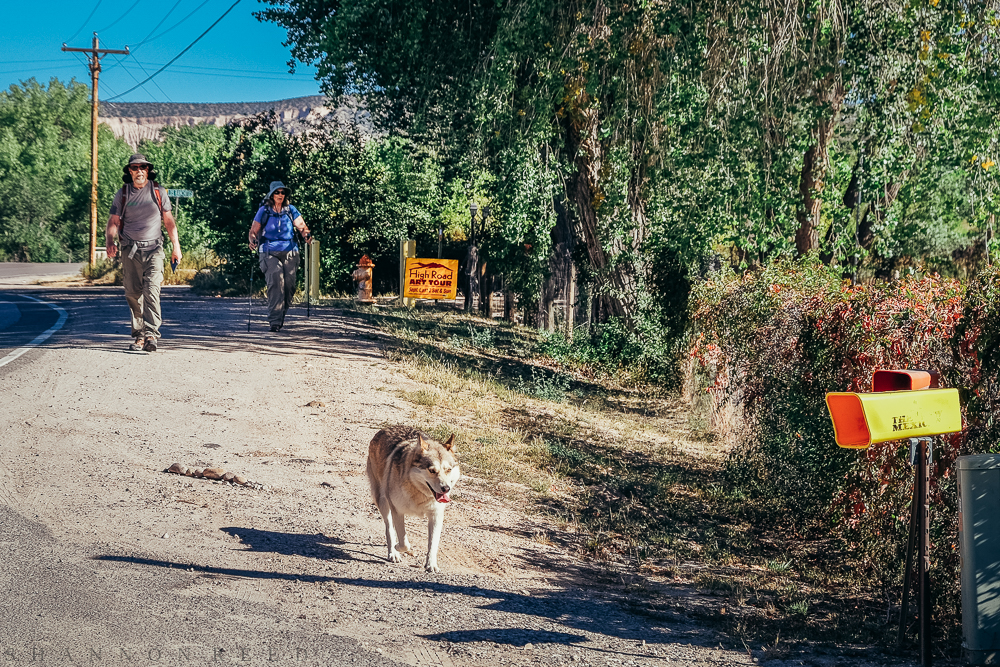 Ruth, Mike, and friend pulling in for the last half mile to Santuario de Chimayo...