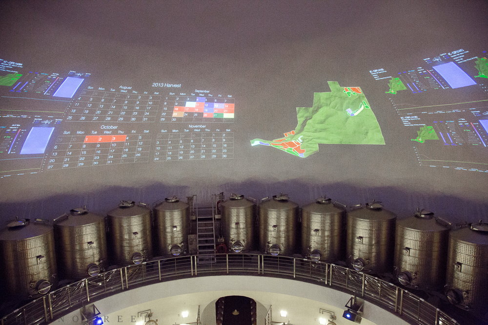 A projector display above the fermentation tanks on the upper level. Literally anything you want or need to know about the contents of each fermentation tank is available with a key stroke...