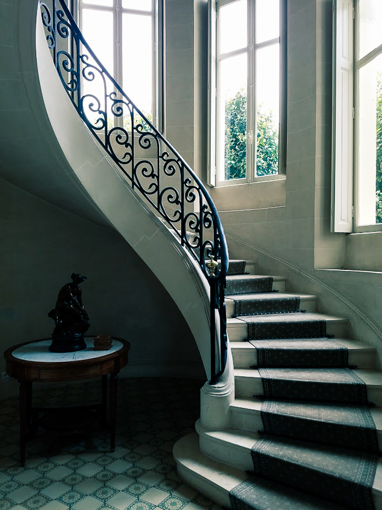 A staircase inside Chateau Clair de Lune - where we stayed in Biarritz...
