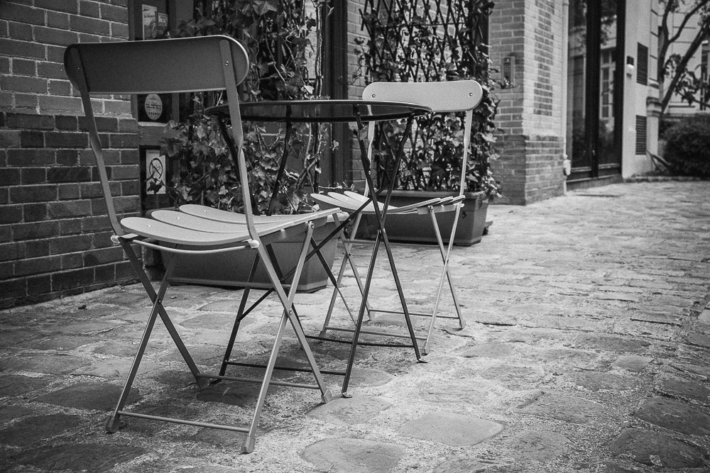 Patio chairs from L'Heure Gourmand in Passage Dauphine off of Rue Mazarine. Best hot chocolate in town...