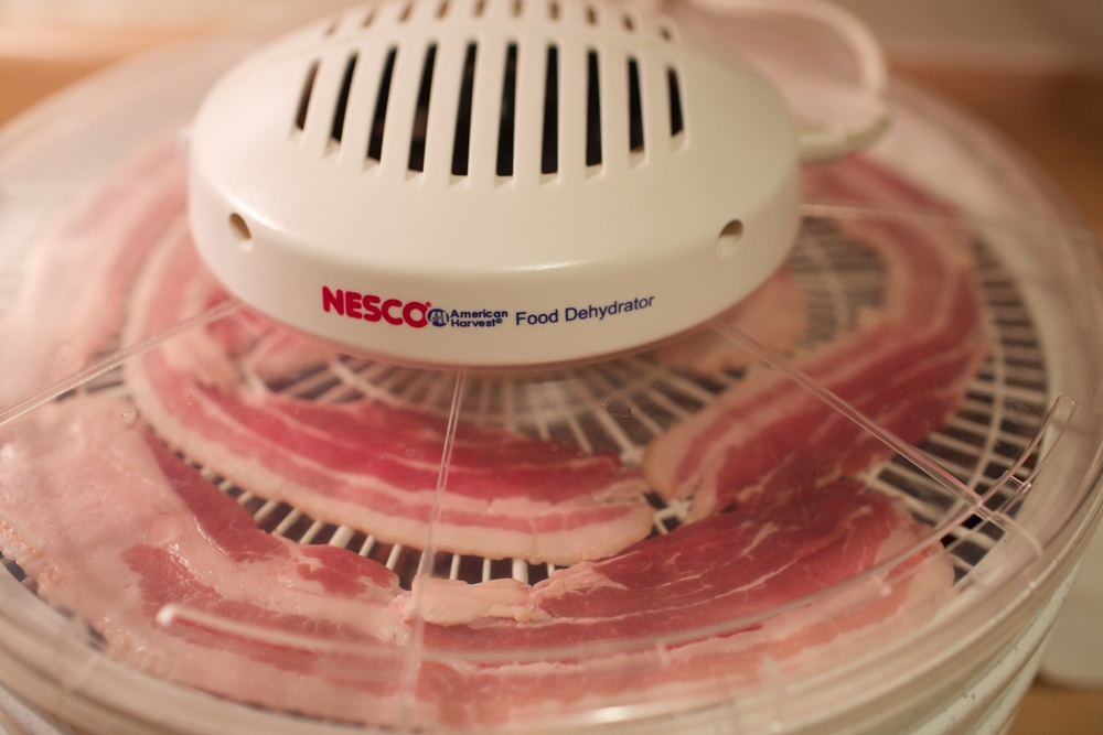 Dehydrating the bacon with a Nesco Food Dehydrator