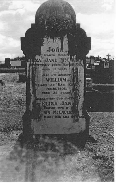Graves of John Jnr., Eliza Jane (nee Donaldson) and William James McCauley