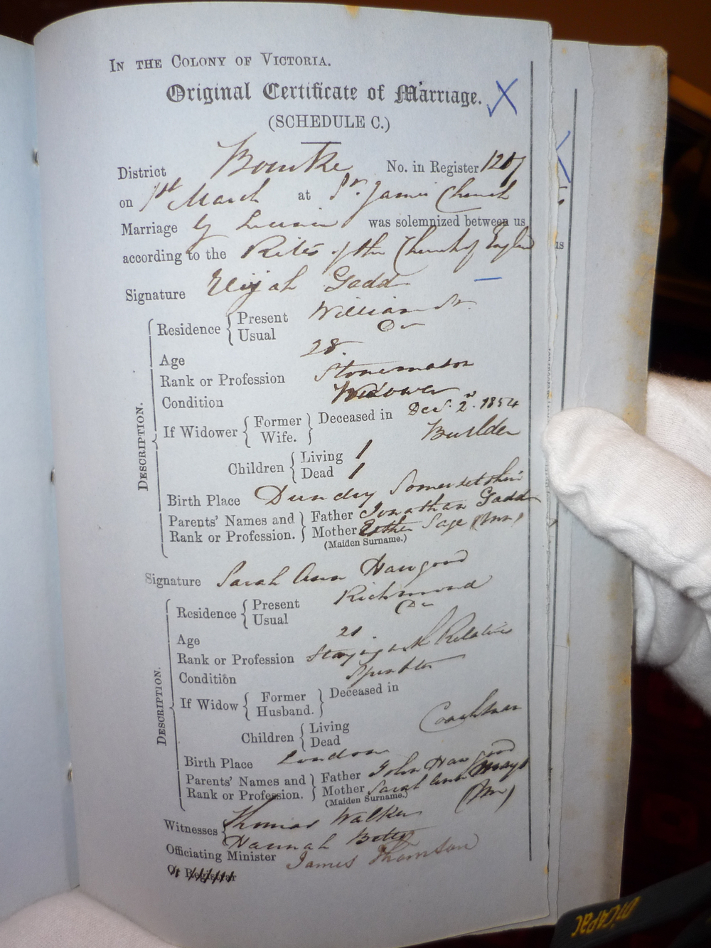 Marriage Certificate of Elijah Gadd and Sarah Ann Hawgood