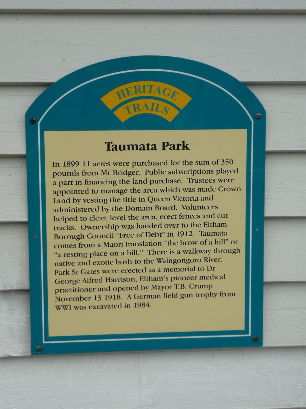 Taumata Park, Eltham