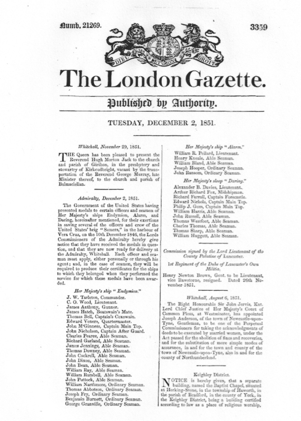 The London Gazette, December 2, 1851. Charles Thomas listed as one of sailors entitled to receive medal.