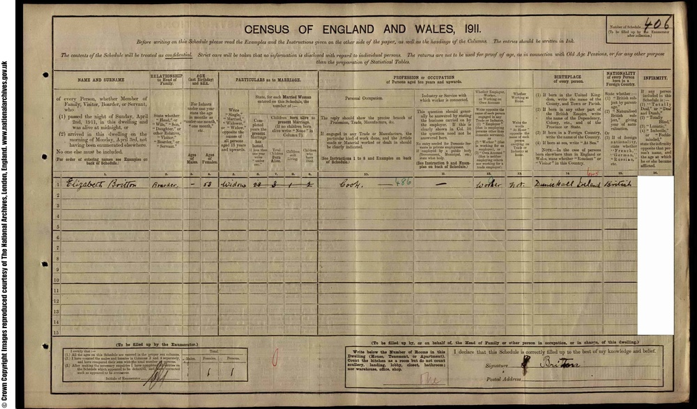 1911 Census-- is this my great grandmother Eliza(beth) Thomas/ Britton?