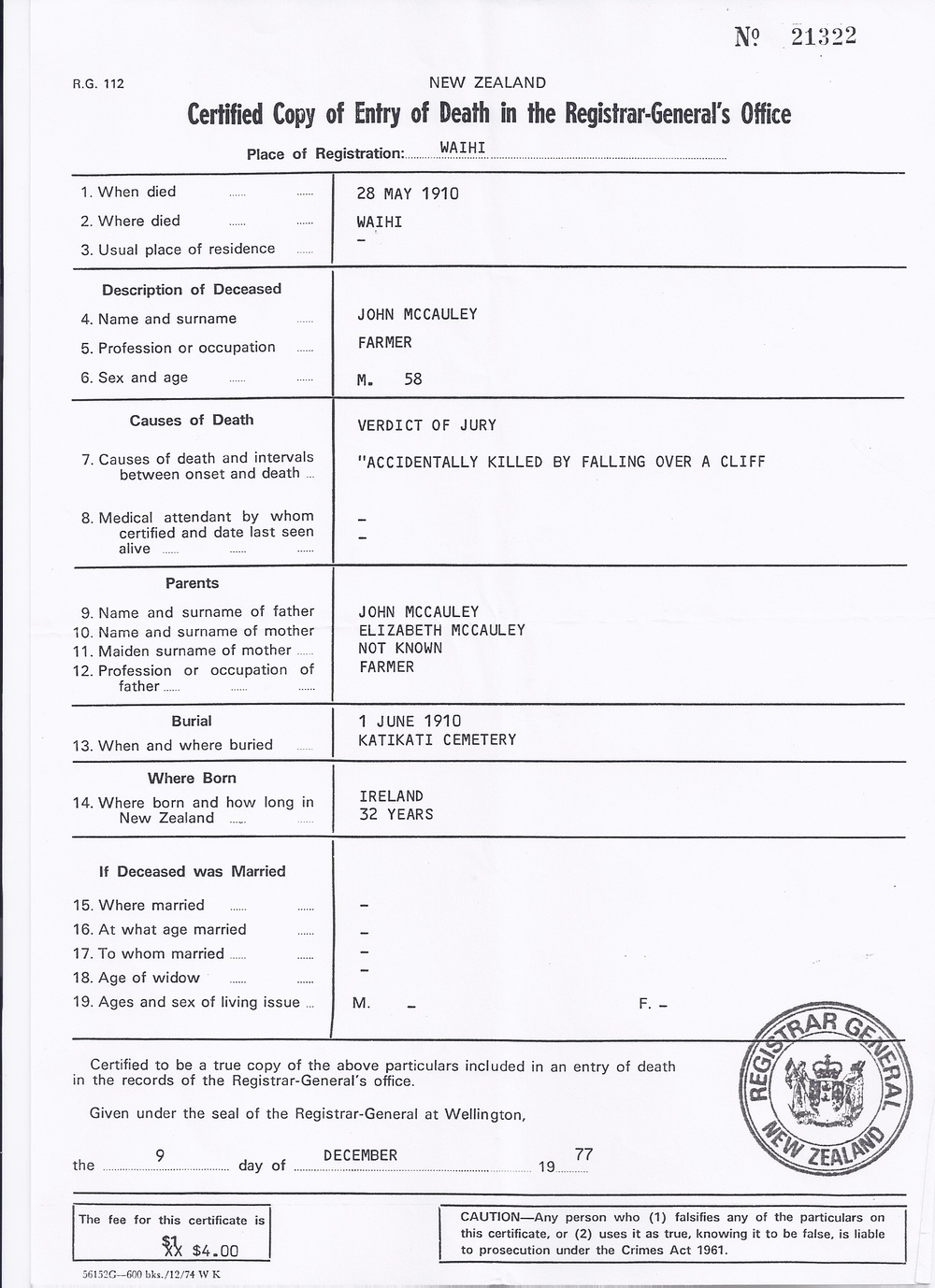 Full research bob andersons family history website john jnr mccauleys death certificate aiddatafo Images