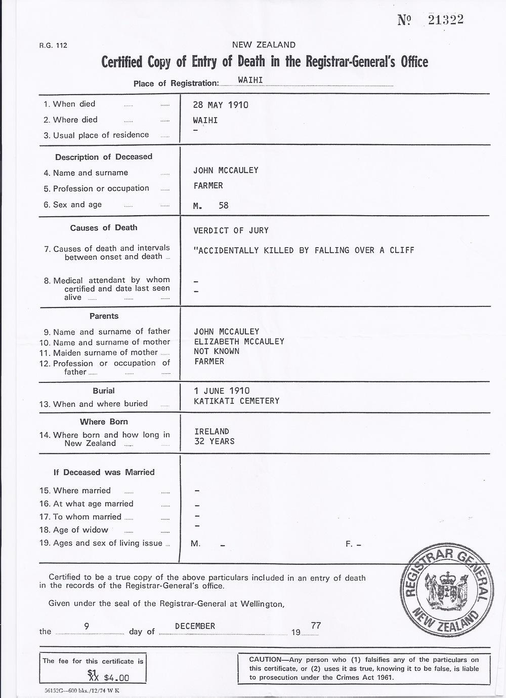 John Jnr. McCauley's Death Certificate