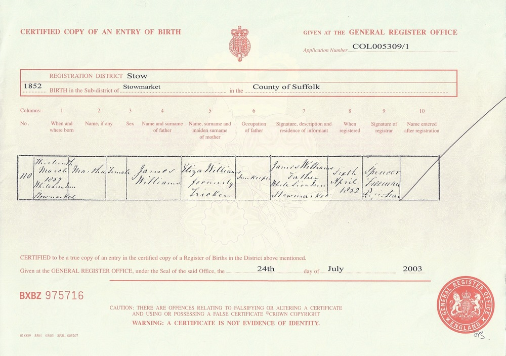 Martha Williams's Birth Certificate