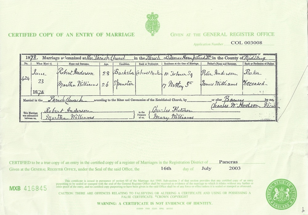 Marriage Certificate of Robert Jnr. Anderson and Martha Williams