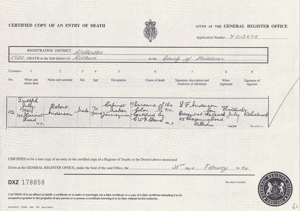 Robert Jnr. Anderson's Death Certficate